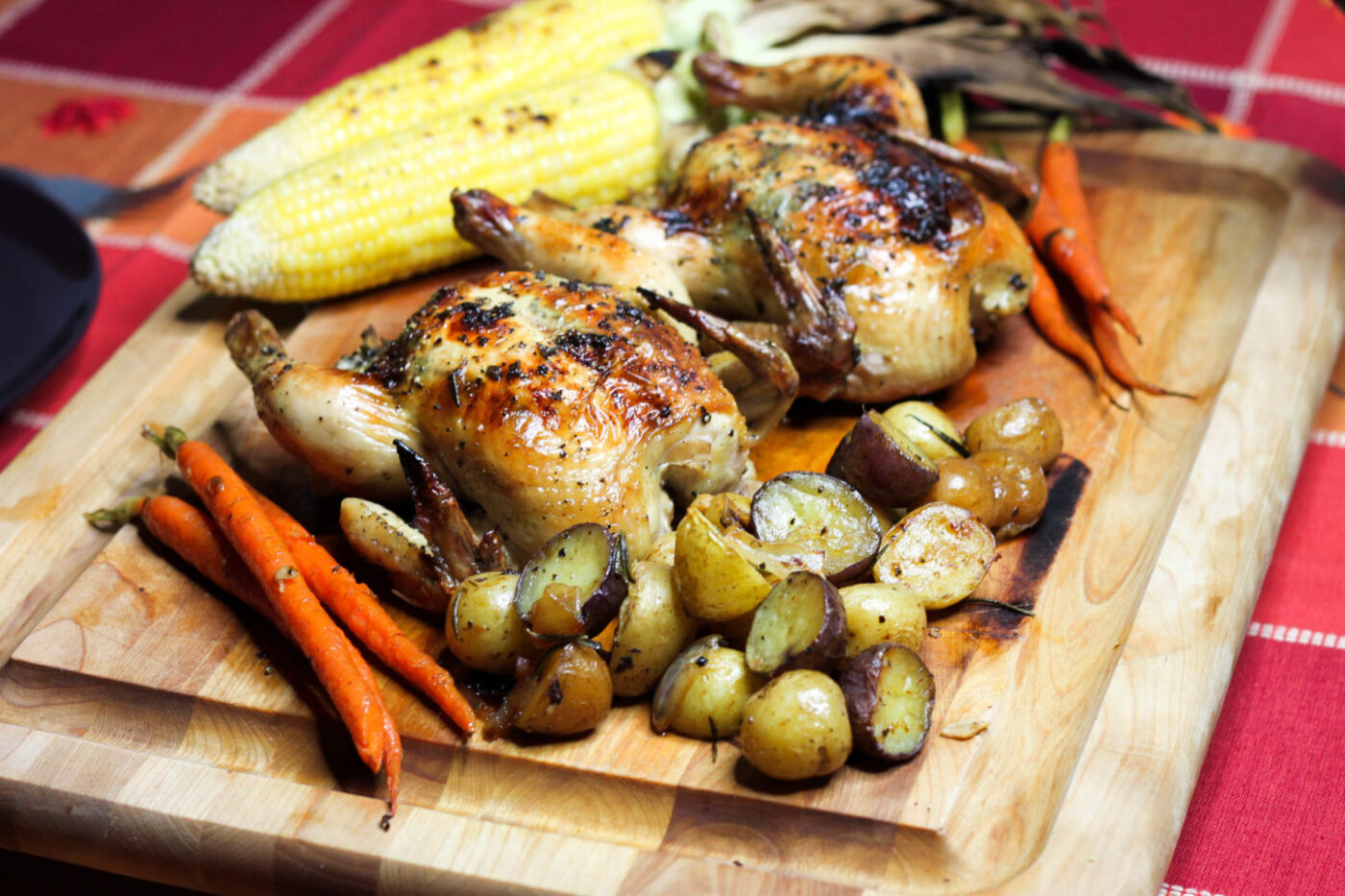 maple and herb roasted cornish hen holiday meal for 2