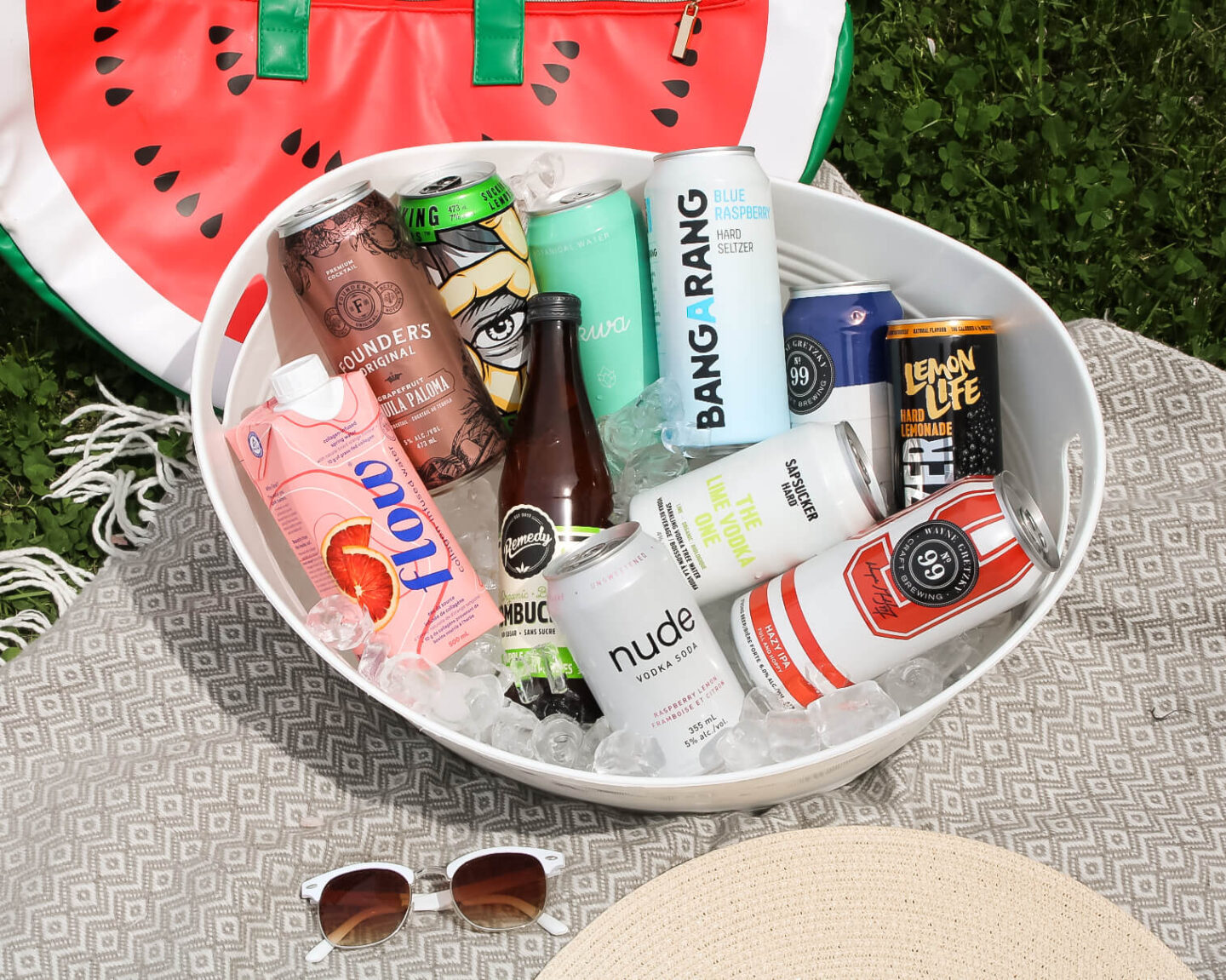 a cooler full of iced cold drinks - long weekend sippers